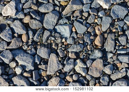 scattering of small stones on the ground