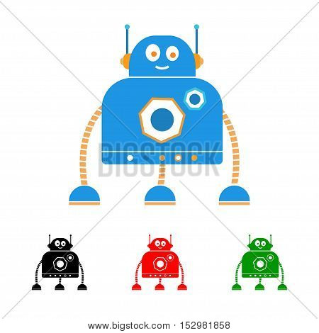 Robot logo. Vector illustration isolated on white.