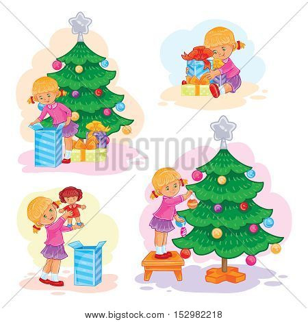 Set of vector icons little girl opening Christmas presents