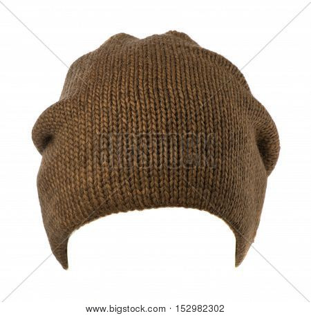 Knitted Hat Isolated On White Background .hat Brown