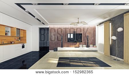 modern apartment living room with the kitchen. 3D rendering