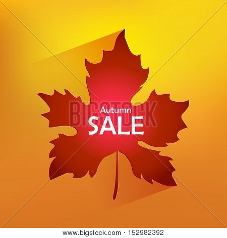 Autumn card sale. Orange background with color maple leaf and inscription SALE. Vector illustration
