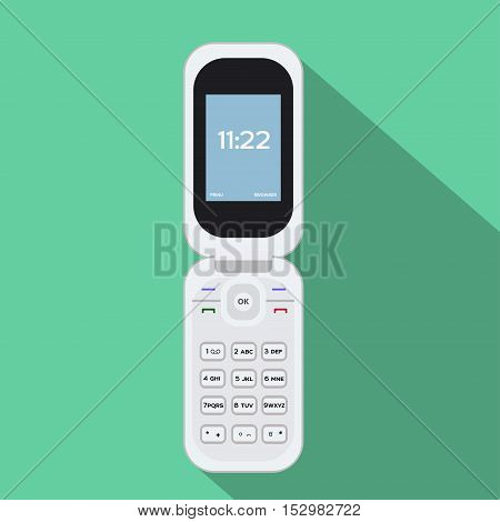 Flip cellphone. Vector illustration of the mobile device. Flat style design with long shadow.