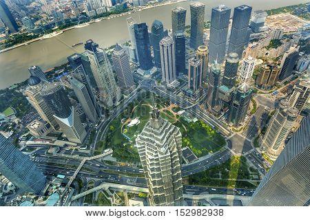 SHANGHAI, CHINA - SEPTEMBER 23, 2016 Jin Mao Tower Skyscraper Huangpu River Cityscape Liujiashui Financial District Shanghai China.