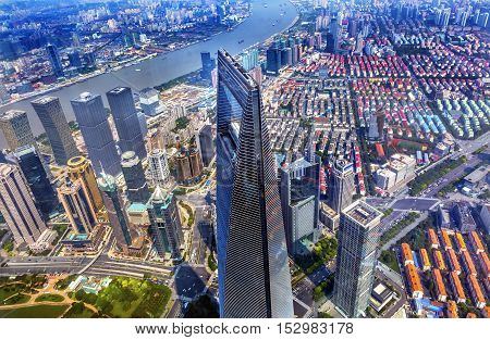 SHANGHAI, CHINA - SEPTEMBER 23, 2016 Looking Down on Black Shanghai World Financial Center Skyscraper Reflections Huangpu River Cityscape Liujiashui Financial District Shanghai China.