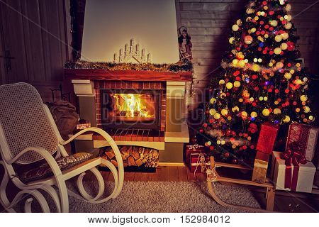 Christmas home, Christmas warm atmosphere in living room