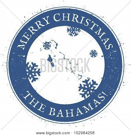 Bahamas Map. Vintage Merry Christmas Bahamas Stamp. Stylised Rubber Stamp With County Map And Merry