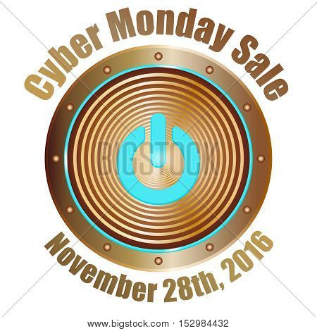vector emblem for cyber monday sale, copper button with blue start symbol