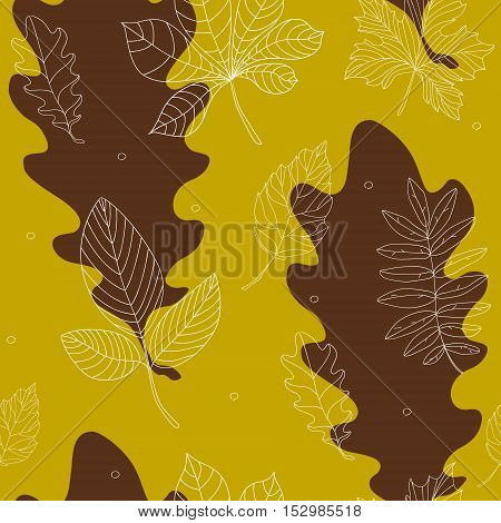 Seamless pattern with contour autumn leaves. Vector illustration.
