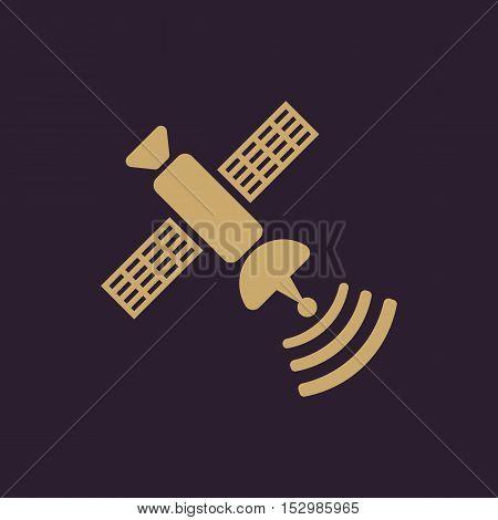 The satellite icon. TV and broadcasting, communication symbol. Flat Vector illustration