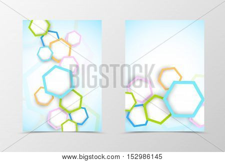Front and back dynamic flyer template design. Abstract template with colorful hexagons in geometric style. Vector illustration