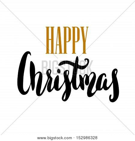Happy Christmas. Hand drawn lettering on light background. Vector illustration.