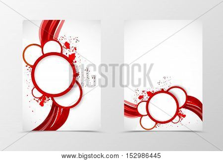 Front and back dynamic wave flyer template design. Abstract template in red color with white circles in grunge style. Vector illustration