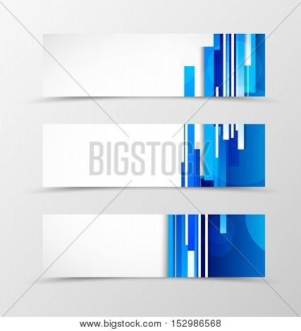 Set of header banner digital design with blue lines in dynamic futuristic style. Vector illustration