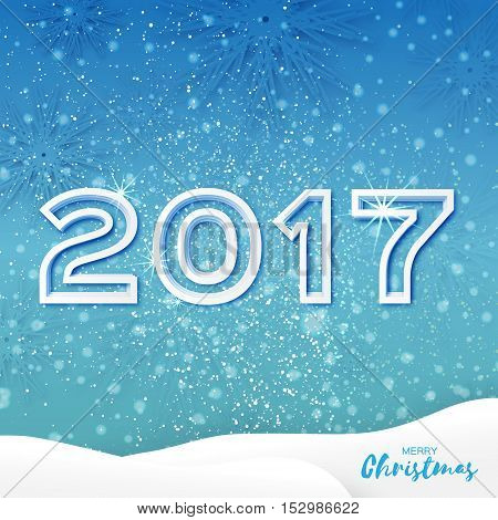 White Origami Merry Christmas Greeting card with Cutout Paper 2017 and landscape on blue background. Happy New Year holiday. Vector seasonal design illustration