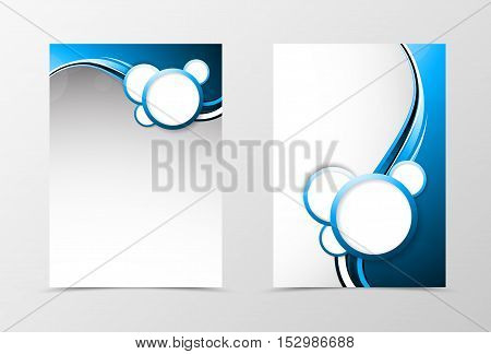 Front and back dynamic wave flyer template design. Abstract template with blue lines and white bubbles in futuristic smooth style. Vector illustration