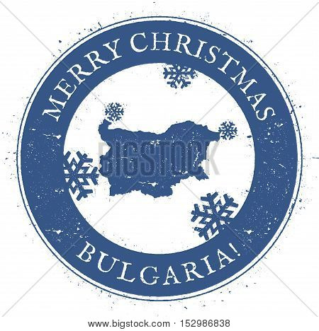 Bulgaria Map. Vintage Merry Christmas Bulgaria Stamp. Stylised Rubber Stamp With County Map And Merr