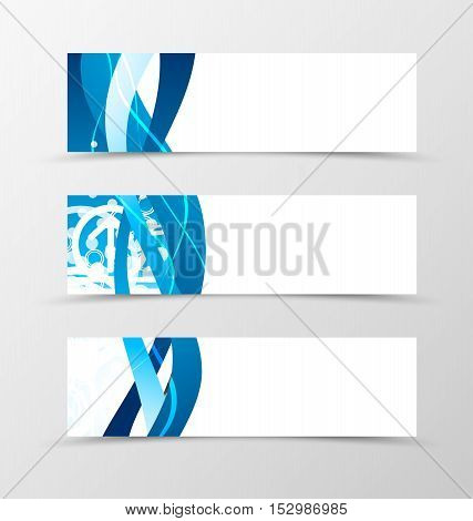 Set of header banner dynamic wave design with blue lines and digital background in futuristic style. Vector illustration