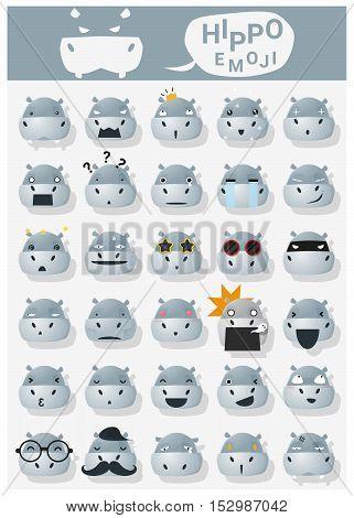 Hippopotamus emoji icons , vector , illustration