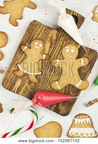 Ornament Icing Of Christmas Gingerbreads On A White Background