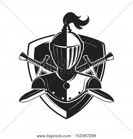 Knight helmet with two swords and shield isolated on white background. Design elements for logo label emblem sign brand mark. Vector illustration.