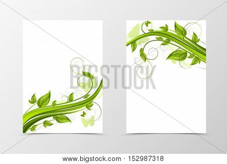 Front and back dynamic natural flyer template design. Abstract template with green flower and butterflies in floral style. Vector illustration