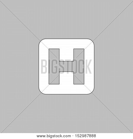Helipad Simple vector button. Illustration symbol. Color flat icon