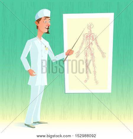 Vector illustration of funny cartoon character of medical topics. Doctor in uniform with pointer in hand leads clarification on human body Table.
