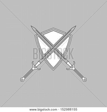 heraldry Simple vector button. Illustration symbol. Color flat icon
