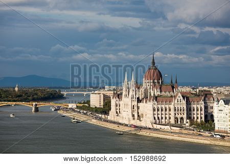The Hungarian Parliament Building on the bank of the Danube in Budapest.