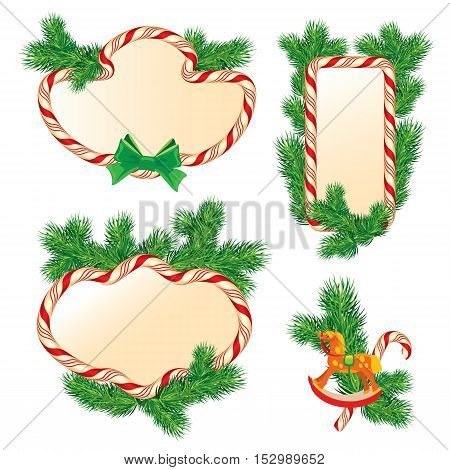 Set of fir-tree branches Candy frames and borders elements for winter holidays design isolated on white background. Merry Christmas and Happy New Year theme.