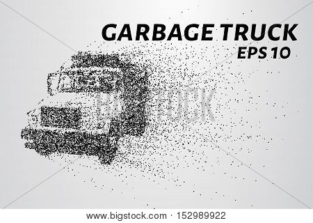 A garbage truck from parts. The garbage breaks down into small molecules. The garbage truck consists of circles and points.