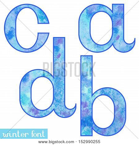 Colorful blue ice frozen watercolor paint alphabet letters A, B, C, D - vector Illustration