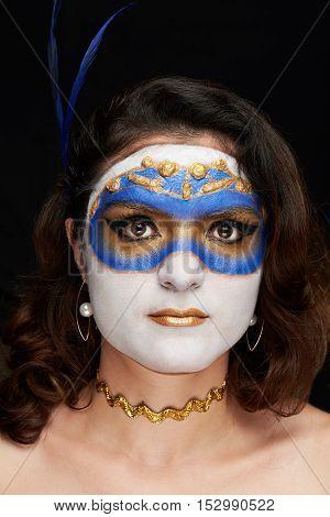 Close Up Portrait Women In  Venetian Mask