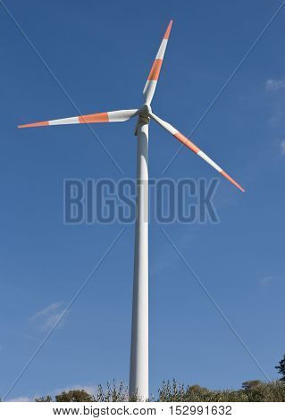 Wind turbines in southern Italy rural landscape