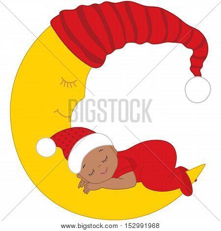 Vector African American Christmas cute baby sleeping on the moon