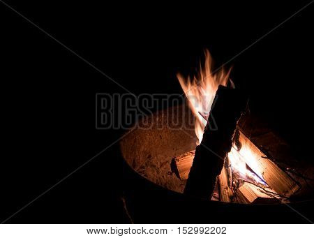 Fire Pit Flames in a campsite fire ring
