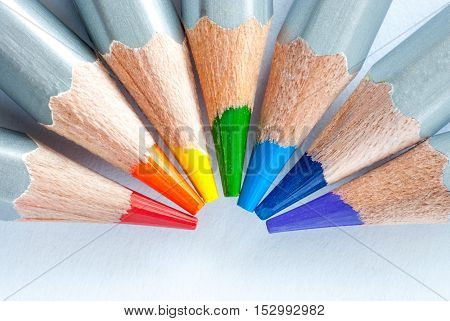 Rainbow of pencils. Colored pencils on white paper. Richard Of York Gave Battle In Vain.