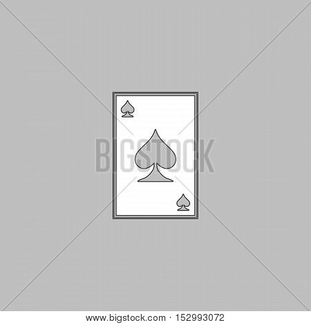 Spades card Simple vector button. Illustration symbol. Color flat icon