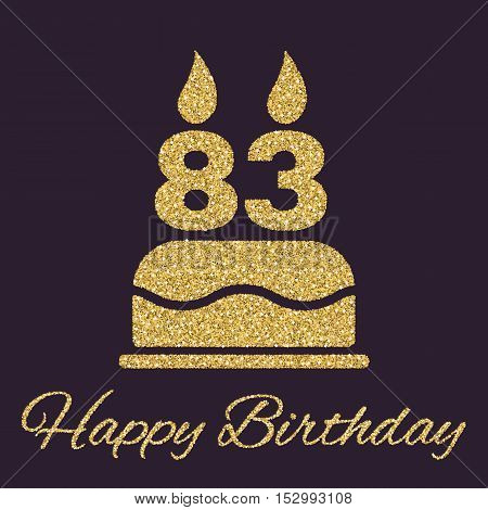 The birthday cake with candles in the form of number 83 icon. Birthday symbol. Gold sparkles and glitter Vector illustration