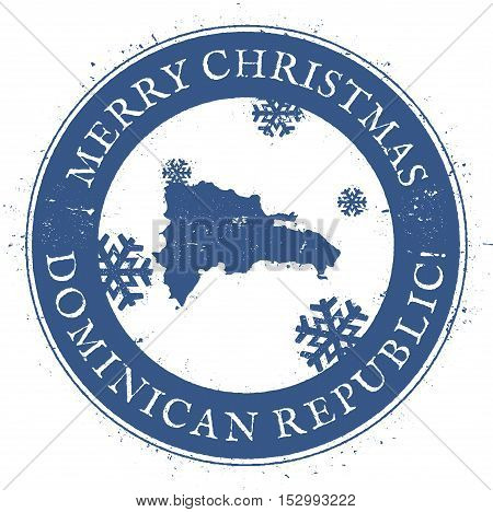 Dominican Republic Map. Vintage Merry Christmas Dominican Republic Stamp. Stylised Rubber Stamp With