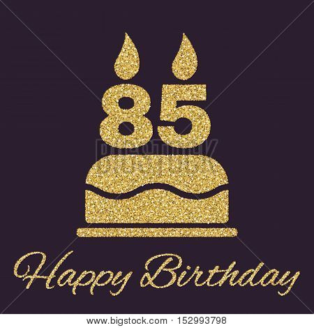 The birthday cake with candles in the form of number 85 icon. Birthday symbol. Gold sparkles and glitter Vector illustration