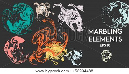 Abstract artistic shapes. Vector design elements. Ebru marbling effect. Illustration cover design elements template for flyers invitations cards and other business