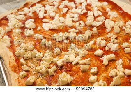Food: close up of pizza before cooking