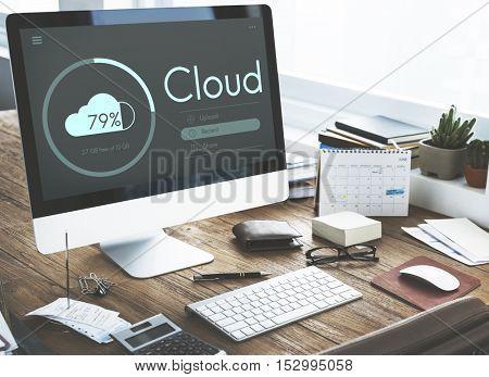 Cloud Computing Storage Data Share Concept