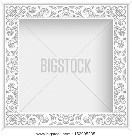 Square white frame with cutout paper lace border ornament