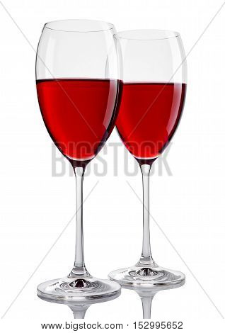 Two glasses of red wine on white background
