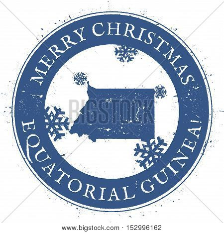 Equatorial Guinea Map. Vintage Merry Christmas Equatorial Guinea Stamp. Stylised Rubber Stamp With C