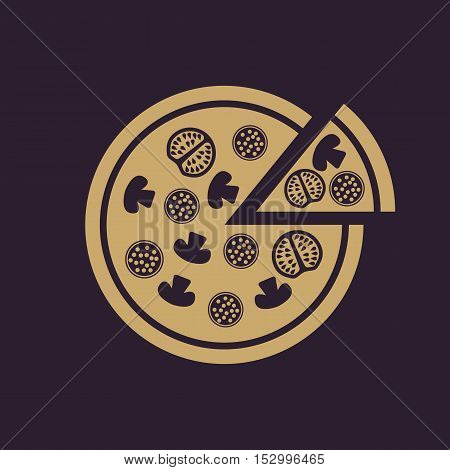 The pizza icon. Pizzeria and baking, fast food symbol. Flat Vector illustration