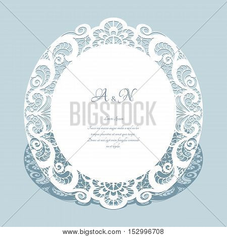 Round frame with cutout paper lace border elegant save the date card or wedding invitation template